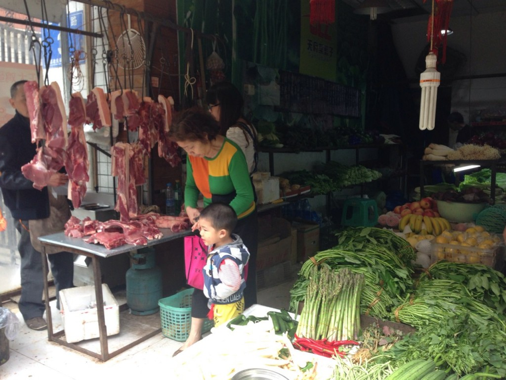 Marché légumes Chengdu