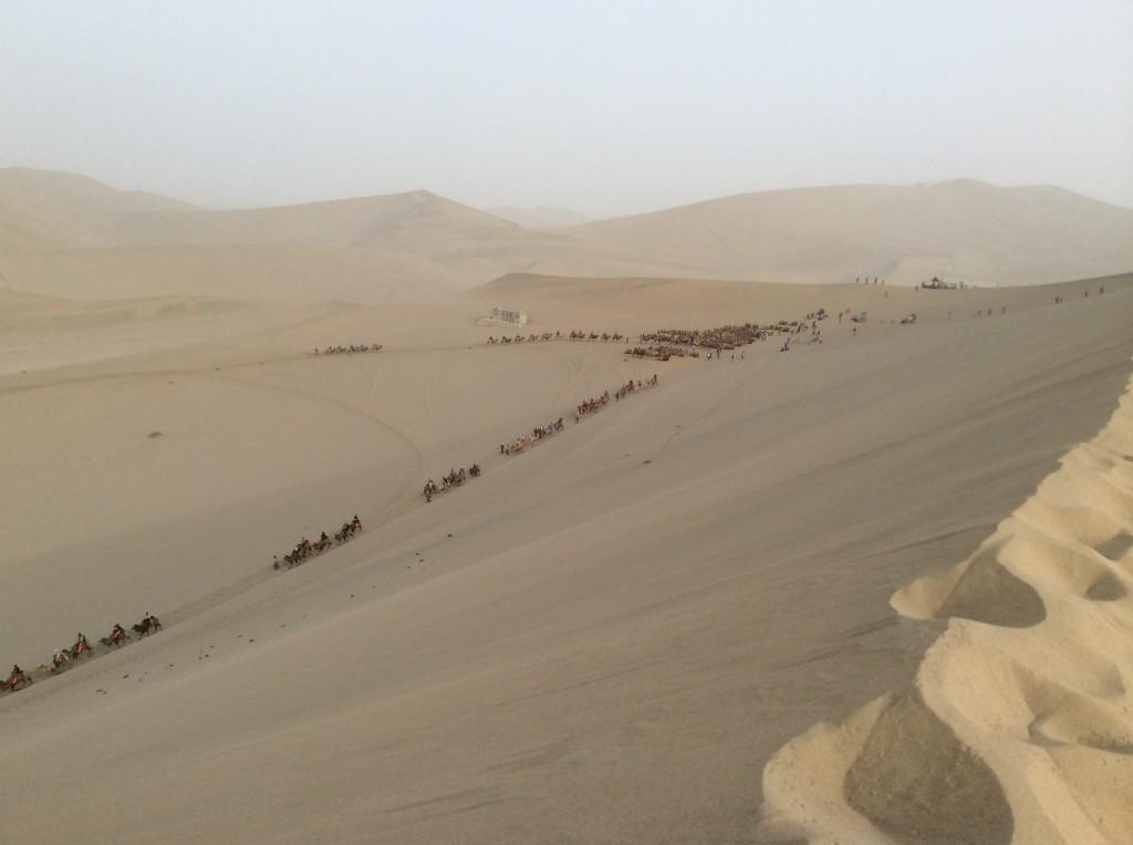 Touristes et chameaux, désert de Dunhuang