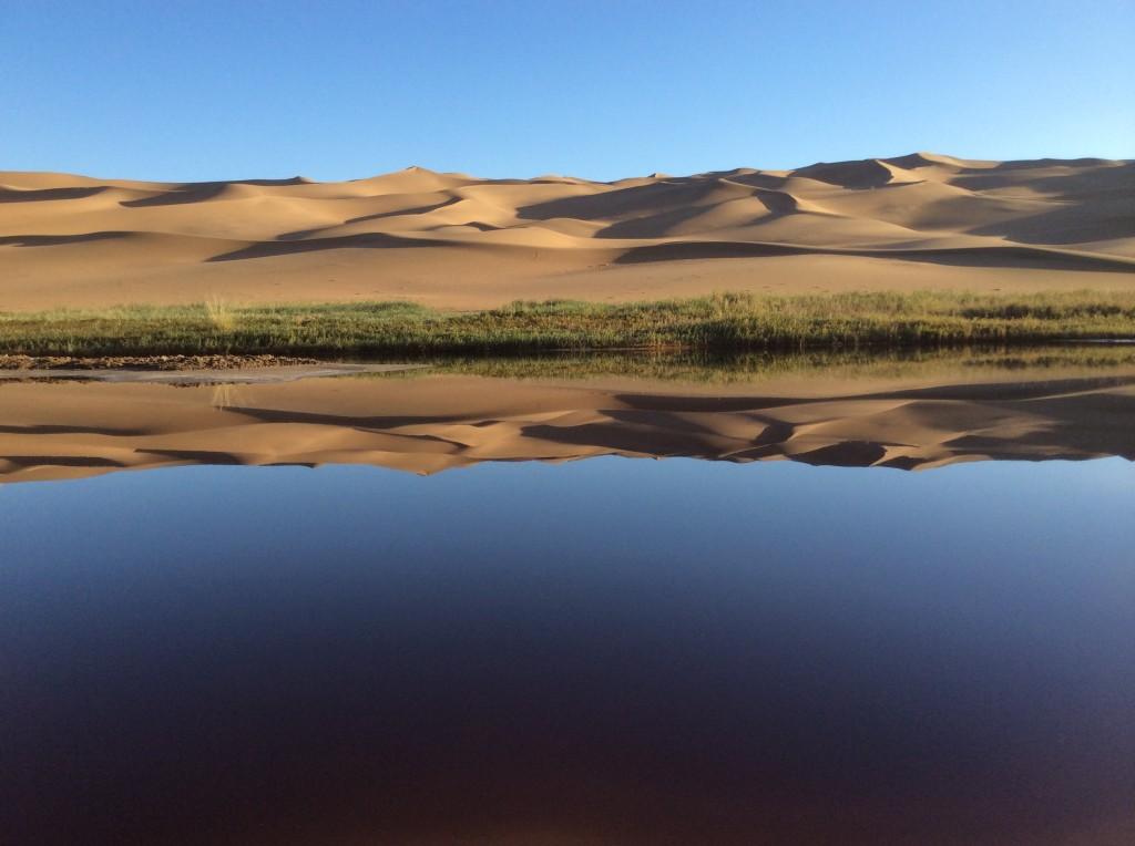 Oasis inhabité désert Chine