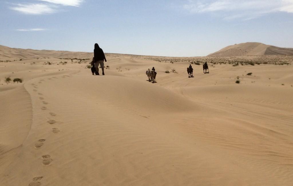 Marche dans le désert de Gobi