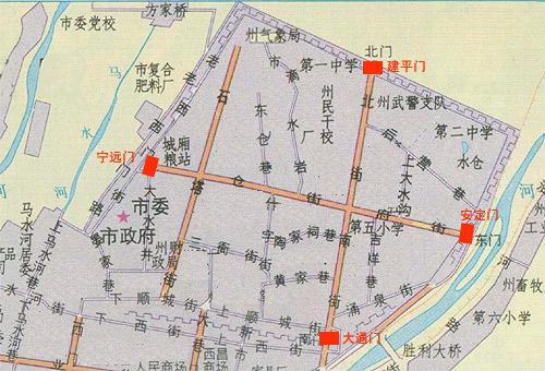 Carte de l'ancienne ville de Xichang